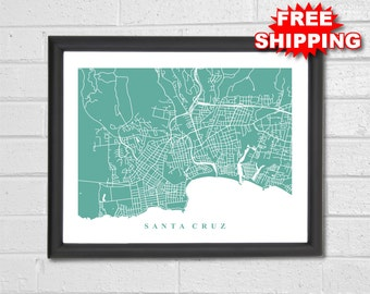Santa Cruz Map Art - Map Print - California - Hometown - Custom Map - Personalized - Travel Gift - Home Map - Birthday Gift - Housewarming