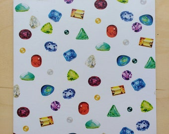 Gemstone repeat pattern greetings card