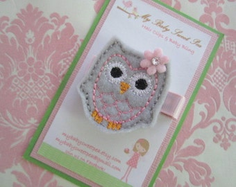 Girl hair clips - owl hair clips - girl barrettes - no slip hair clips