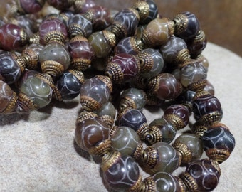Tibetan Brass Capped Agate Beads, Multi-colored, 4 Beads