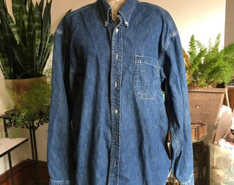 80s Men's GAP Blue Jean Shirt Size XL Men's Denim Shirt