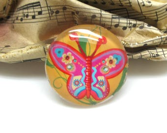 1 cabochon 30 mm glass Butterfly Pop yellow and pink - 30 mm