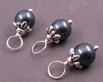 Tahitian Black Pearl Charms, Swarovski Crystal Pearls, Bead Dangles, Stitch Markers, Wire Wrapped Dangles with Flower Bead Caps 6mm