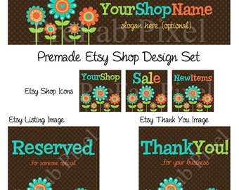 Daisy Etsy Banner, Cover Photo, Whimsical Etsy Banner, Flower Etsy Banner, Turquoise Shop Banner, Orange Etsy Banner, Polka Dot Shop Banner