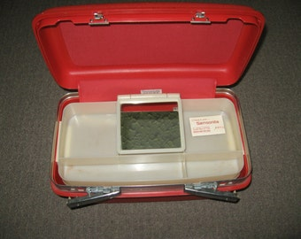 Vintage Red Samsonite make Up carrying Case With Tray Mirror And Key
