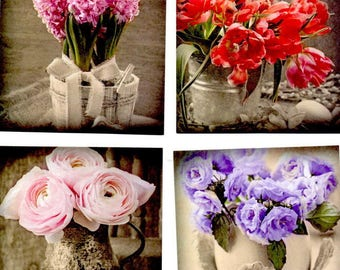 85 - Set of 4 images for cards or scrap flowers