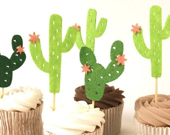 6 felt cactus food picks | cupcake toppers | cocktail sticks | tropical | Joshua trees