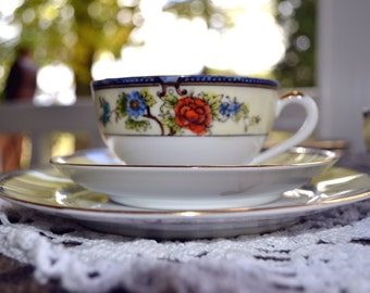 Vintage Noritake China Tea Set 3 Plates, 3 Saucers, and 3 Teacups
