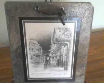 Vintage DON DAVEY print on SLATE