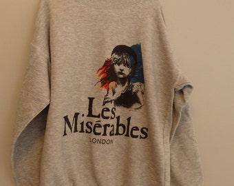 Vintage 80s  Les Miserables Crew Neck Sweatshirt L
