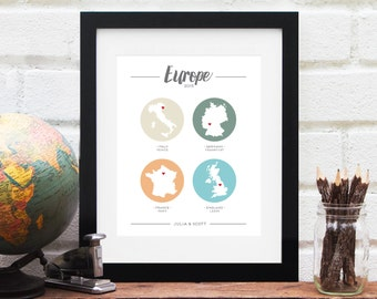 European Vacation Gift for Her Personalized Europe Travel History Map Long Distance Honeymoon Best Friends Military Travels - Art Print