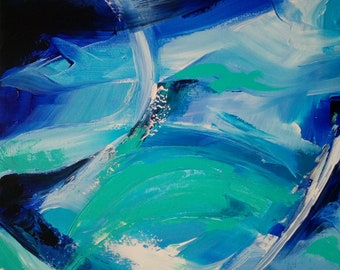Acrylic painting expressive turquoise blue water Aqua abstract Modern