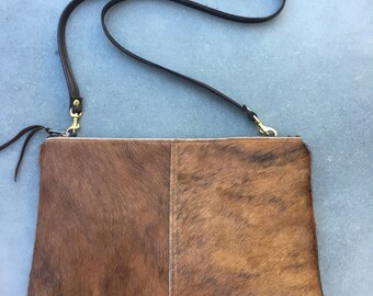 Large Brown Natural Hair on Hide Leather Convertible Crossbody Bag or Clutch