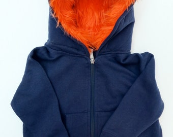 Baby Monster Hoodie - Navy blue with orange  - 6 months  -  monster hoodie, horned sweatshirt, infant jacket, great baby gift