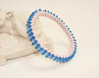 Blue Swarovski Crystal Bracelet, pink Swarovski pearls, Bridesmaid Gift , Wedding Bridal Jewelry Christmas Gift