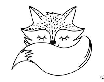 Fox cub cute kawaii flex fusible applique