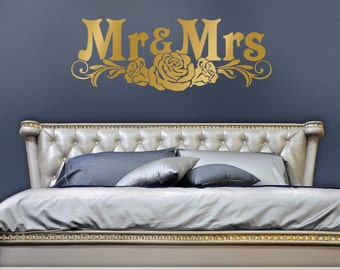 Romantic Bedroom Decor, Bedroom Wall Decal Headboard, Mr and Mrs Wall Decor, Gold Victorian Roses, Removable Metallic Decal (0179c28v)