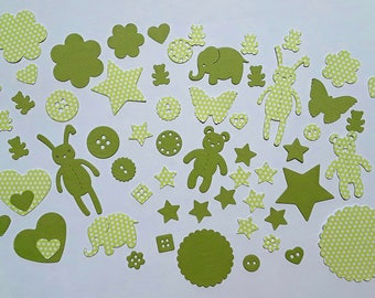 Cuts paper, baby, 60 green embellishments