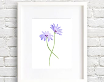 Purple Daisies Art Print - Wall Decor - Watercolor Painting