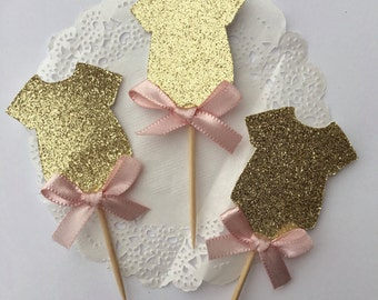 Onesie Cupcake Toppers, Baby Shower Cupcake Toppers, Girl Baby Shower Cupcake Toppers, Pink and Gold Baby Shower Cupcake Toppers, Its a Girl