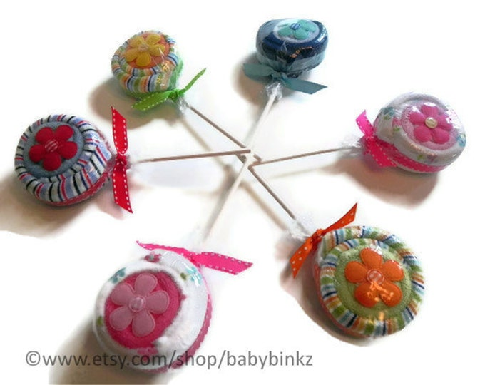 6 x Washcloth Lollipops - Unique Baby Gifts & Favors boy girl neutral infant washcloth