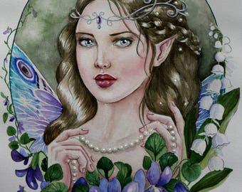 Vilet fairy fantasy watercolour painting