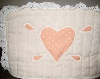 2 Slice Toaster Cover Peach Heart  Design