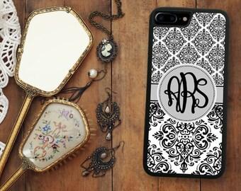 Black Damask iPhone 7 Case, Monogrammed iPhone 7 Plus Case Monogram 1263