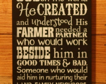 On The 9th Day God Created A Farmer's Wife sign
