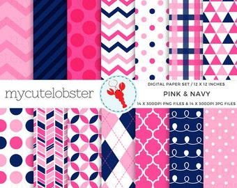 Pink & Navy Digital Paper Set - patterned paper, polka, chevron, stripes, swirl - personal use, small commercial use, instant download