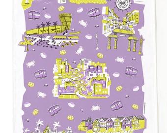 San Francisco Tea Towel-Home Goods-Kitchen-Lavender-Grey-Yellow-17 x 28