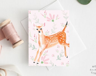 Greeting Card Fawn and flowers // Illustration of a baby deer with flowers, Pink background, Birthday card, All Occasion, Baby Shower, Girl