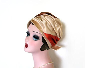 Sale!~ Vintage 1960's Multi Color Satin Turban w/Bow~ Emilia's