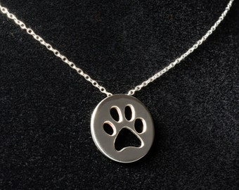 Sterling silver paw print cut-out