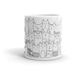 Cute Illustrated Cat Mug