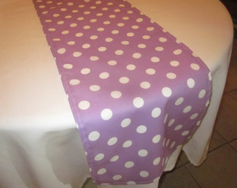 Light Purple and White Polka Dot Table Runner, Birthday Party, Wedding, Bridal Shower, Baby Shower,Princess Party, Easter