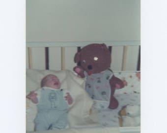 Vintage Snapshot Photo: Watchful Teddy Bear, 1974 (75574)