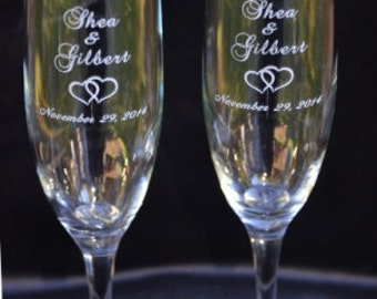 Engraved Wedding Toasting Flutes for the Bride and Groom, Personalized Anniversary Champagne Glasses - EH