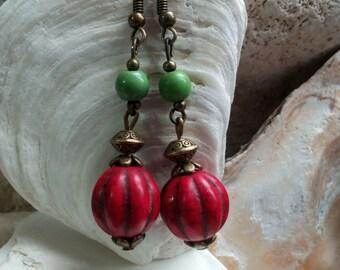 1012 - red pumpkin beads earrings.