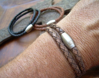 Mens  Double Wrap Braided Leather Bracelet with Stainless Steel Magnetic Clasp, Mens Jewelry, Mens Bracelet, Leather Bracelet