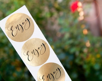 Gold Foil ENJOY Stickers - Wedding Favor Stickers - Wedding Favors, Shower Favors, birthday parties, businesses -  24 Stickers