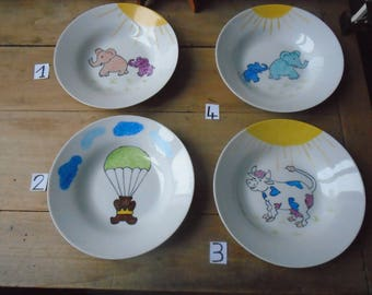 Kids plate handpainted - plate in porcelain