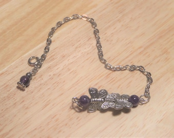 Silver butterfly chain link bracelet with purple accent beads