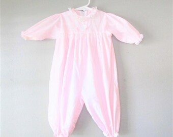 Vintage Pastel Pink Cotton Baby Girl Outfit / Size 3 Months Infant Baby One Piece Romper