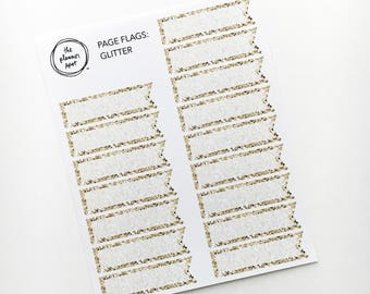 Flag Planner Stickers - Gold Glitter