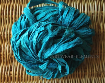 Pure Sari Silk, Blue Turquoise 3, 1,2,3 or 6 yards, Fair Trade, Textile Fiber, Yarn, Yarn, Bracelet Ribbon, Silk, Artwear Elements, #118
