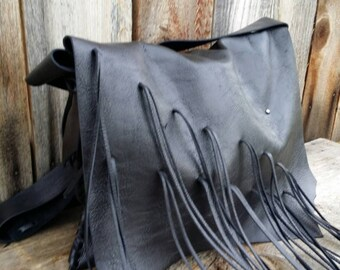 Black Leather Messenger Tote CLEARANCE