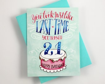 21 forever - one card with a turquoise envelope