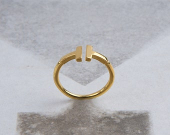 Gift for her, Solid gold T, t gold ring, Minimalist Bar Ring, Double bar ring, T letter ring, Parallel bar T ring, ring style T. k18 ring T,