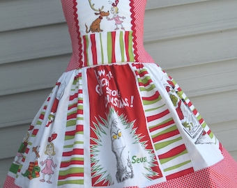 Ready to Ship Custom Boutique Red Green Grinch Cindy Lou  Whoville Seuss Christmas Dress Will Fit Girl Sizes 5 or 6